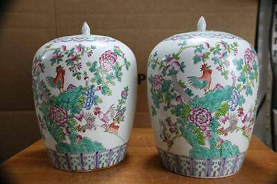 Pair Vintage large Chinese Porcelain Jars with Cover.