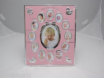 My First Year Photo Frame Baby Girl Pink NEW