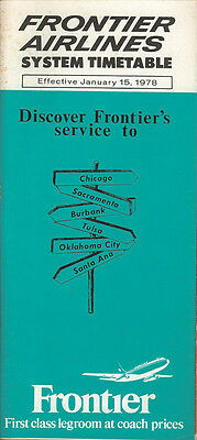 Frontier Airlines system timetable 1/15/78 [6023]