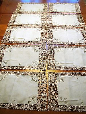 Antique Lace Linen Placemats Set 10 Needlelace Table Mats Embroidered Reticella