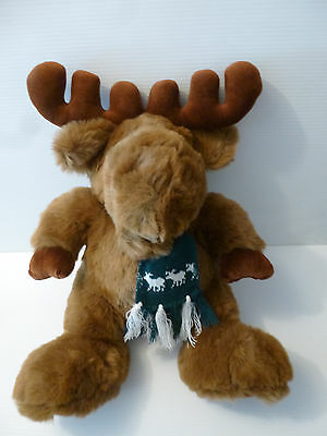 1990 Macy's Northern Exposure Brown Plush Moose Complete with Scarf