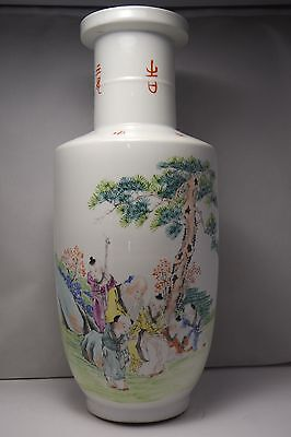 ANTIQUE/ VINTAGE Chinese Porcelain Famille Rose Vase Qianlong Mark  Rare 16,5''
