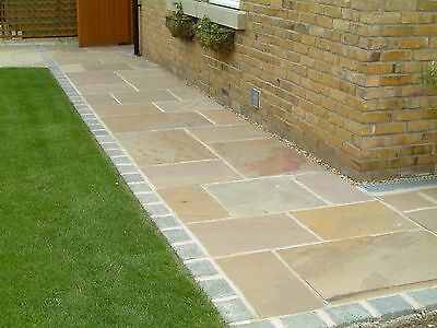 Indian Sandstone Paving - Natural Stone Patio Flags - Calibrated Slabs 19m2 Pack