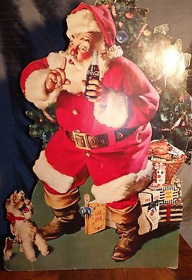 Vintage Coca-Cola Coke Cardboard Cutout SANTA CLAUS with PUPPY Stand-up Sign