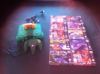 Jungle Green Nintendo 64 Console And Boxed Games