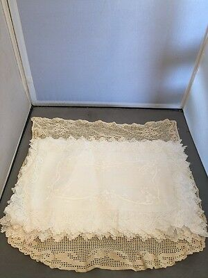 Vintage White Linen Rose Lace Placemats Embroidery Lot Of 5