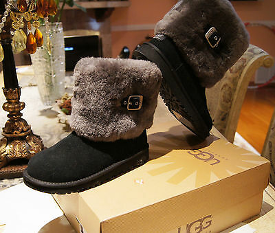 Authentic Womens Ugg Australia Winter K Ellee Sheepskin Black Boots Size 4