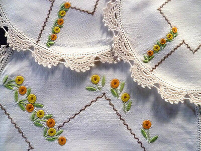 Gorgeous Flower Beds ~ Vintage Hand Embroidered 3 pce Duchess Set