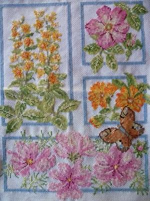 Wonderful Cottage Flowers/Butterfly~Picture Panel~Vintage Hand Emb /Cross Stitch