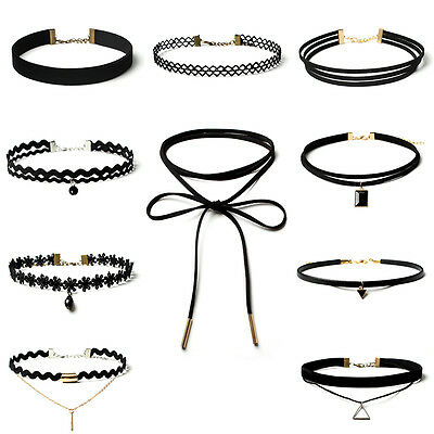 10 Pieces Choker Necklace Women Girls Black Classic Velvet Stretch Neck Jewelry