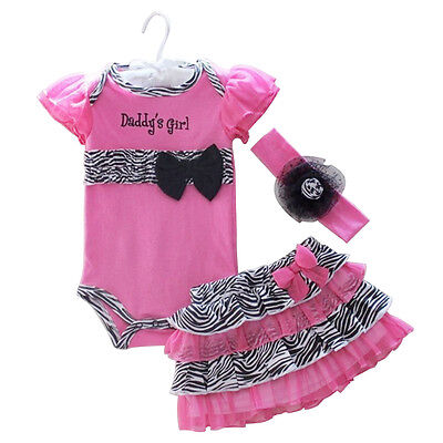 3PCS New Infant Baby Girls Headband Romper Tutu Dress Outfits Clothes Lovely
