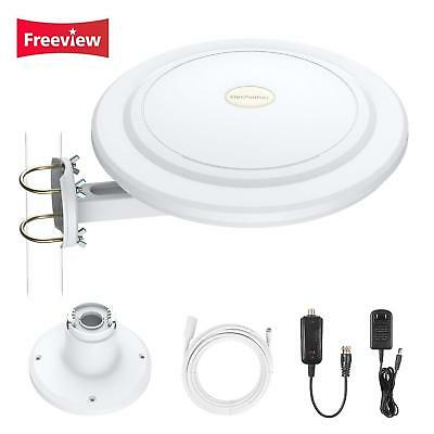 360° Reception 1080p Amplified Indoor/Outdoor HDTV Antenna Up to 100Mile VHF/UHF
