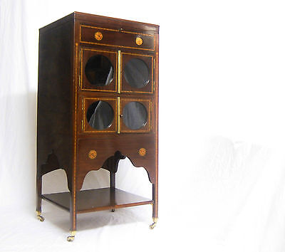 Sheraton Revival Mahogany Bijouterie Display Cabinet Or Music Stand