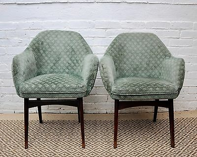 Pair of Mid Century Green Side Chairs