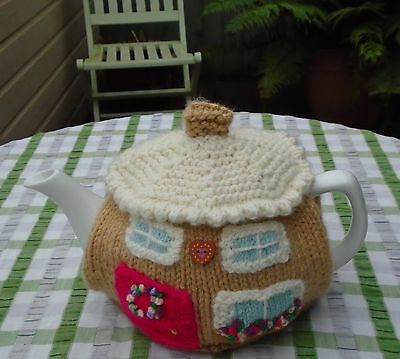 Hand Knitted Christmas Cotswold Cottage Tea Cosy For A Medium To Large Teapot