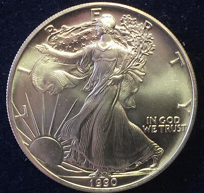 1 Silberunze One Dollar 1990 Liberty Fine Silver 1 OZ Feinsilber 999/-