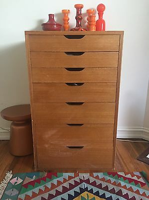 Vintage chest of drawers, Filing Cabinet, Tall boy Mid Century 60's Era
