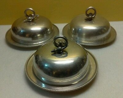 Vintage Set of 3 B.W. Buenilum Steampunk Aluminum Serving Dish with Lid