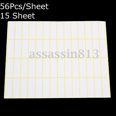 56 White Sticky Labels 13x38MM Price Stickers Tags Blank Self Adhesive 15 Sheets