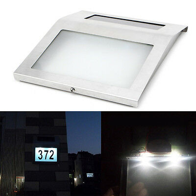 Solar Power Doorplate LED Light House Address Number Wall Stainless Steel Lamp