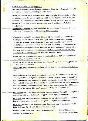Russian Invasion Of Czechoslovakia1968, Pro Russian Stockholm Protest Document