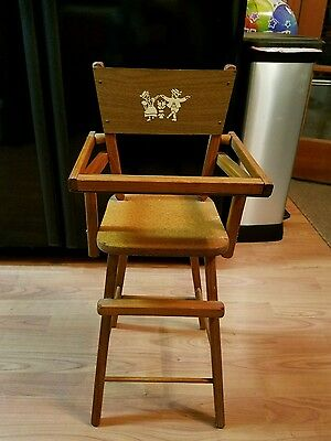 "Vintage 28"" Wooden Doll High Chair Painted Dancing Dutch Children"