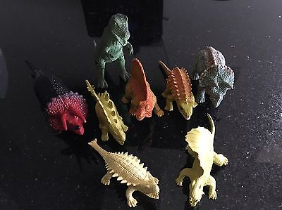 Set Of Eight Model/Toy Dinosaurs Various Sizes Excellent Condition