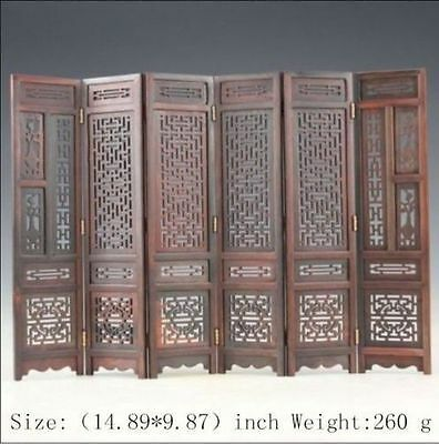 Hand-carved Chinese Boxwood & Sculpture Folding Screen