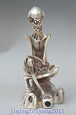Chinese collectable Tibet Silver handwork carve skeleton old man unique statue