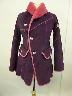 Girls Diesel Purple Faux Fur Coat With Pink Fur Lining Size L Age 12    #cr#