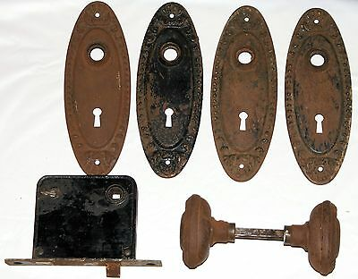 Antique Copper 2 Oval Door Knobs 4 Backplates Lock Yale & Towne 1800's