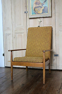 One Retro Teak Armchair With Original Mid Century Upholstery Danish Vintage