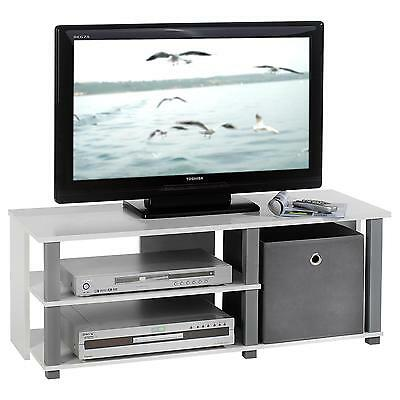 Meuble TV 2 niches blanc et gris