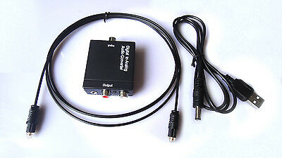 RCA Digital Optical Coax Coaxial Toslink to Analog Audio Converter Adapter 3.5MM