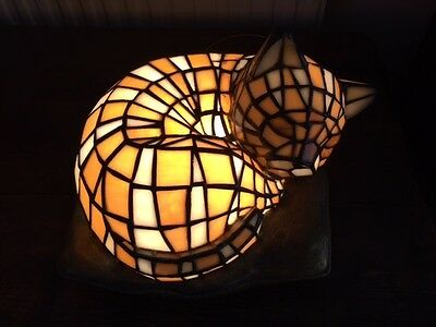 Tiffany Style Cat Lamp Curled up Asleep