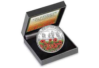 World War One Centenary of The Battle of The Somme Proof Colorised £5 Coin COA