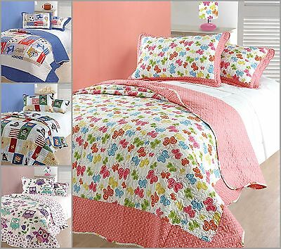 Single Bed Kids Bedspread Quilted & Pillowsham Pirates Sports Owl Butterfly Pink