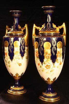 Antique Coalport Vases, A Beautifully Painted & Gilded Matched Pair, Late C19th