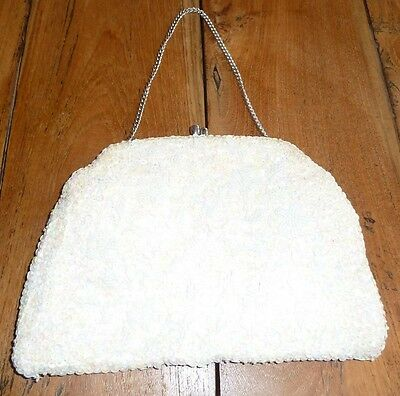 Vintage White and Cream Sequin and Beaded Silk Evening Bag