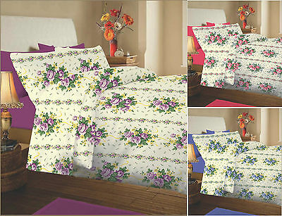 Luxury Thermal Flannelette 100% Brushed Cotton Floral Bedding Sheet Set