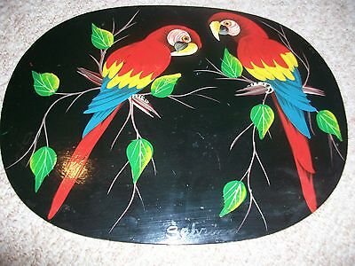 Parrot Painting on Wood Tropical Bird Decoration
