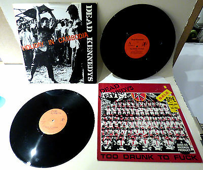 """DEAD KENNEDYS / HOLIDAY IN CAMBODIA + TOO DRUNK TO 2x12"""" orig singles punk vinyl"""