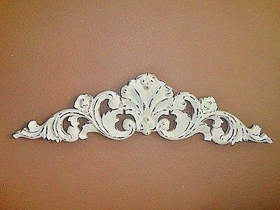 "Vintage 33"" White Appliqué Pediment Shabby French Scroll Swirl Flourishes Floral"