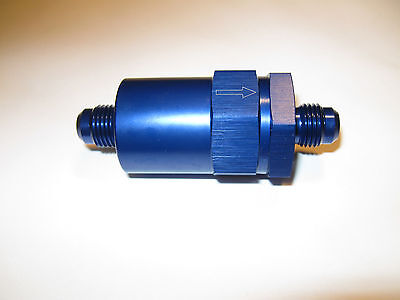 08 an Male Flare Fuel Filter, inline Street Flow cleanable element Blue anodized