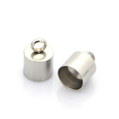 20PCS 304 Stainless Steel Cord Ends Necklace Cord Crimp End Caps 13x9mm