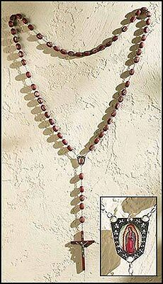 """Our Lady of Guadalupe Wood Wall Rosary (MC207) NEW 52"""" long, 6"""" Crucifix"""