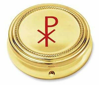 Chi Rho Cross Gold 10 Host Home Hospital Traveling Pyx NEW SKU RS128