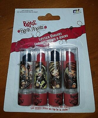 BRATZ ROCK ANGELZ lipstick shaped erasers - 4 in each pack