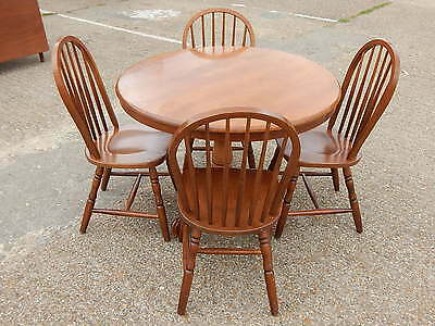 Malaysian oak circular farmhouse kitchen dining room table with 4 dining chairs