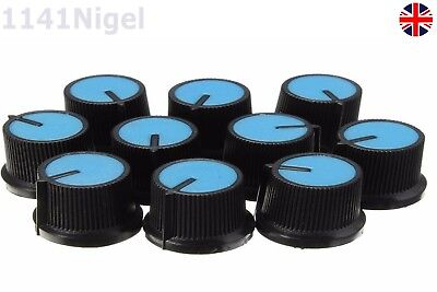 10PCS Blue Face Potentiometer Knob Control for Rotary Taper Hole 6mm Black Knob